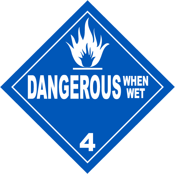 USDOT Symbol for Substances Dangerous When Wet