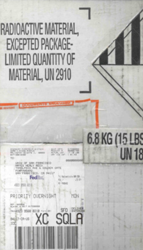 "Label stating ""Radioactive material, excepted package. Limited quantity of material, UN 2910""."