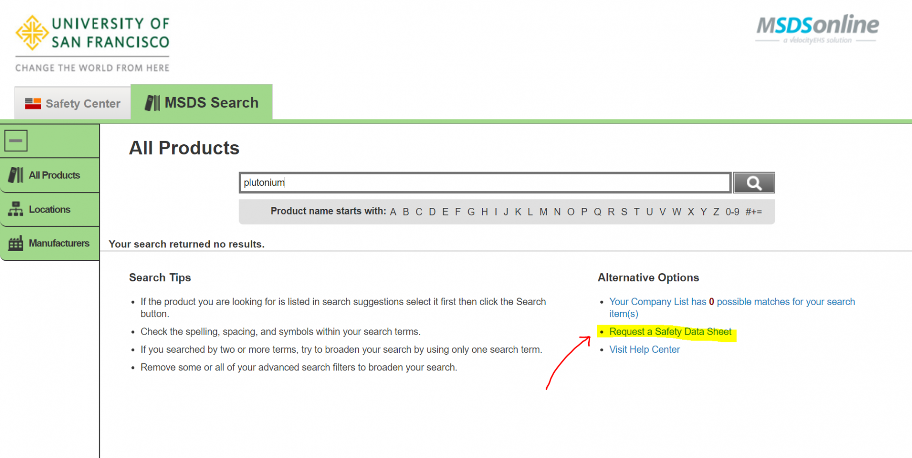 An example of the MSDS Online web page when no MSDS/SDS forms are found with the Request Form link highlighted