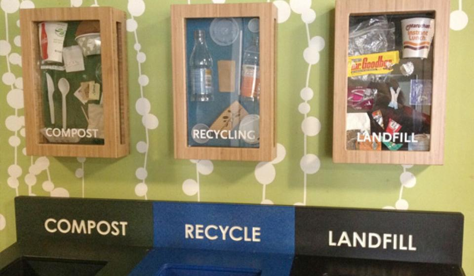 Recycling, compost, and landfill bins with examples of waste that goes in the various bins