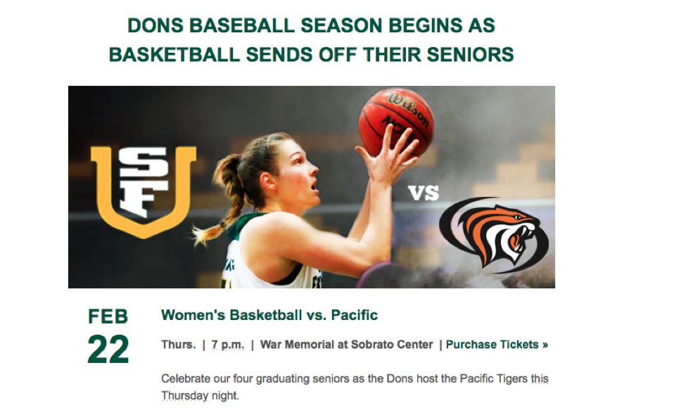 Women's basketball email with image of woman shooting basketball