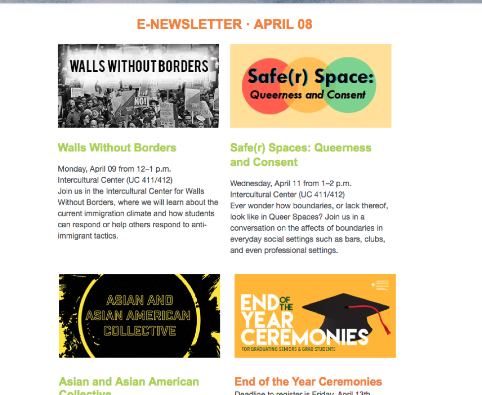 E-newsletters with image text matching the title