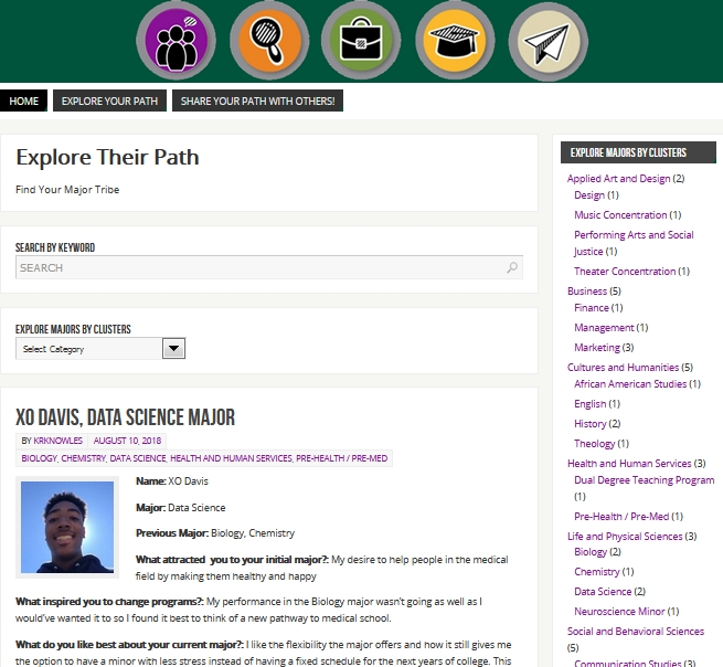 Screenshot of Explore Your Path Blog
