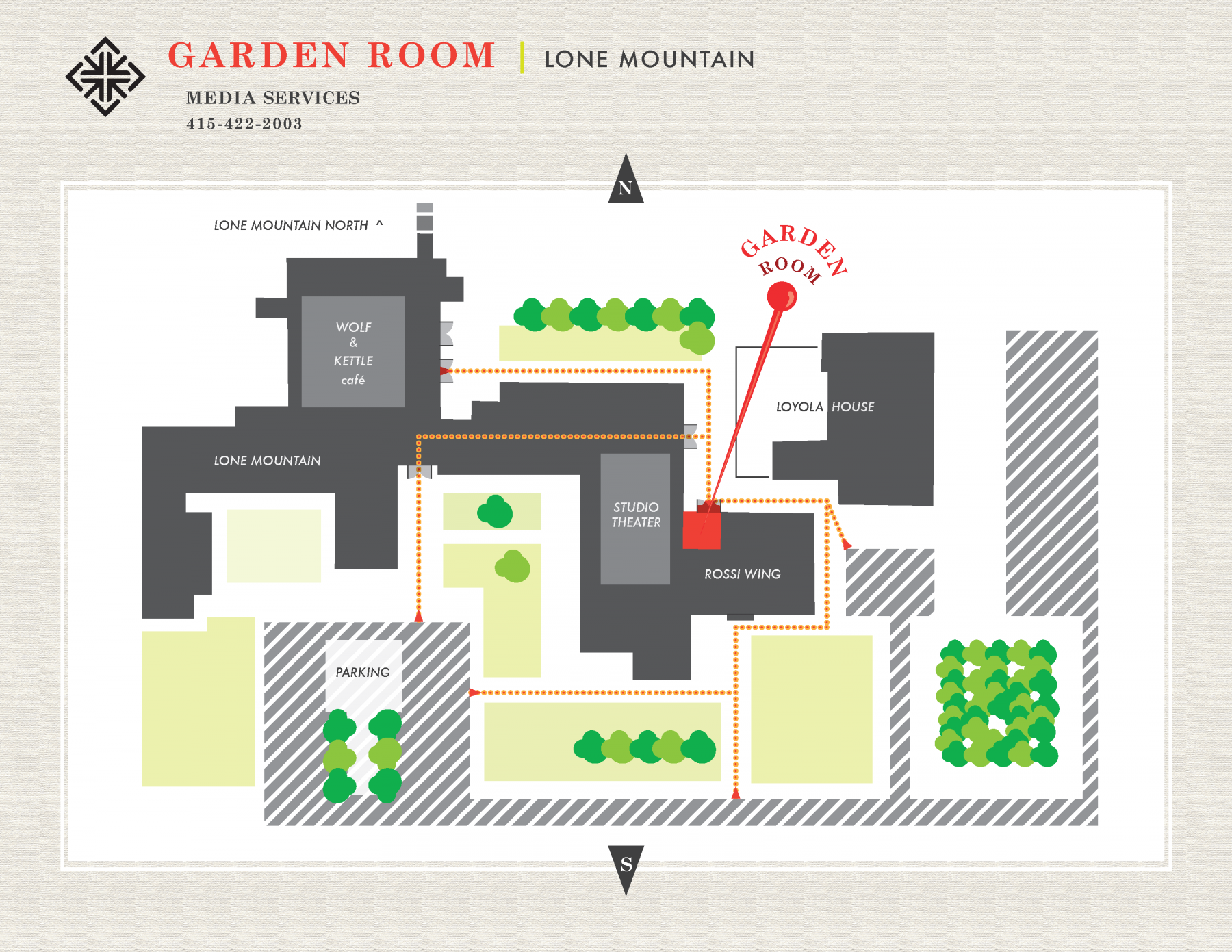 Map to Media Services, located at the Lone Mountain Garden Room