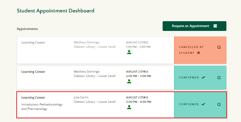 Student Appointment Dashboard