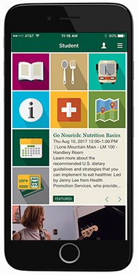 USF Mobile App on an iPhone
