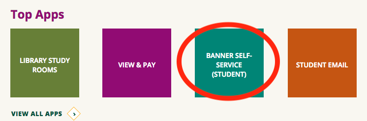 Top Apps, circling the Banner Self Service (Student) button