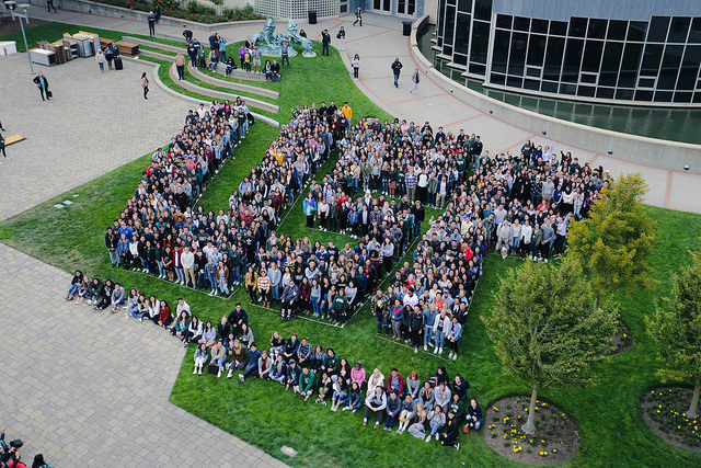 students line up to spell usf