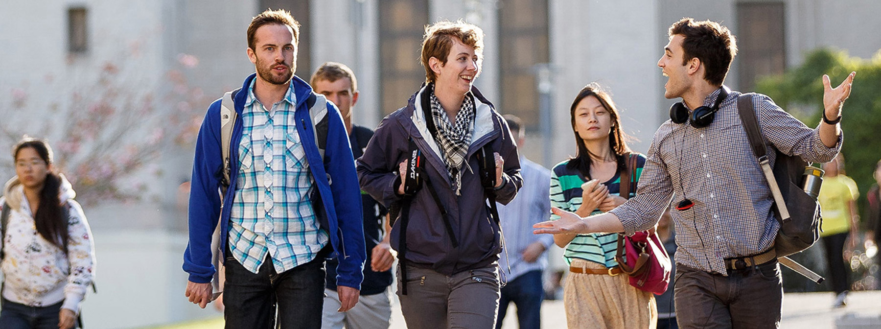 Students walking through the hilltop campus