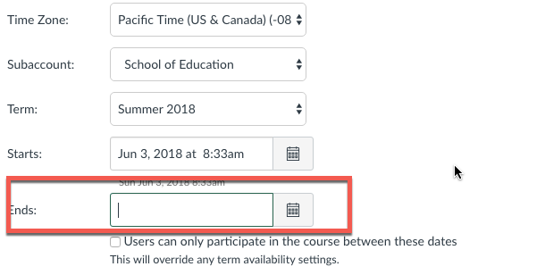 Canvas course end date settings