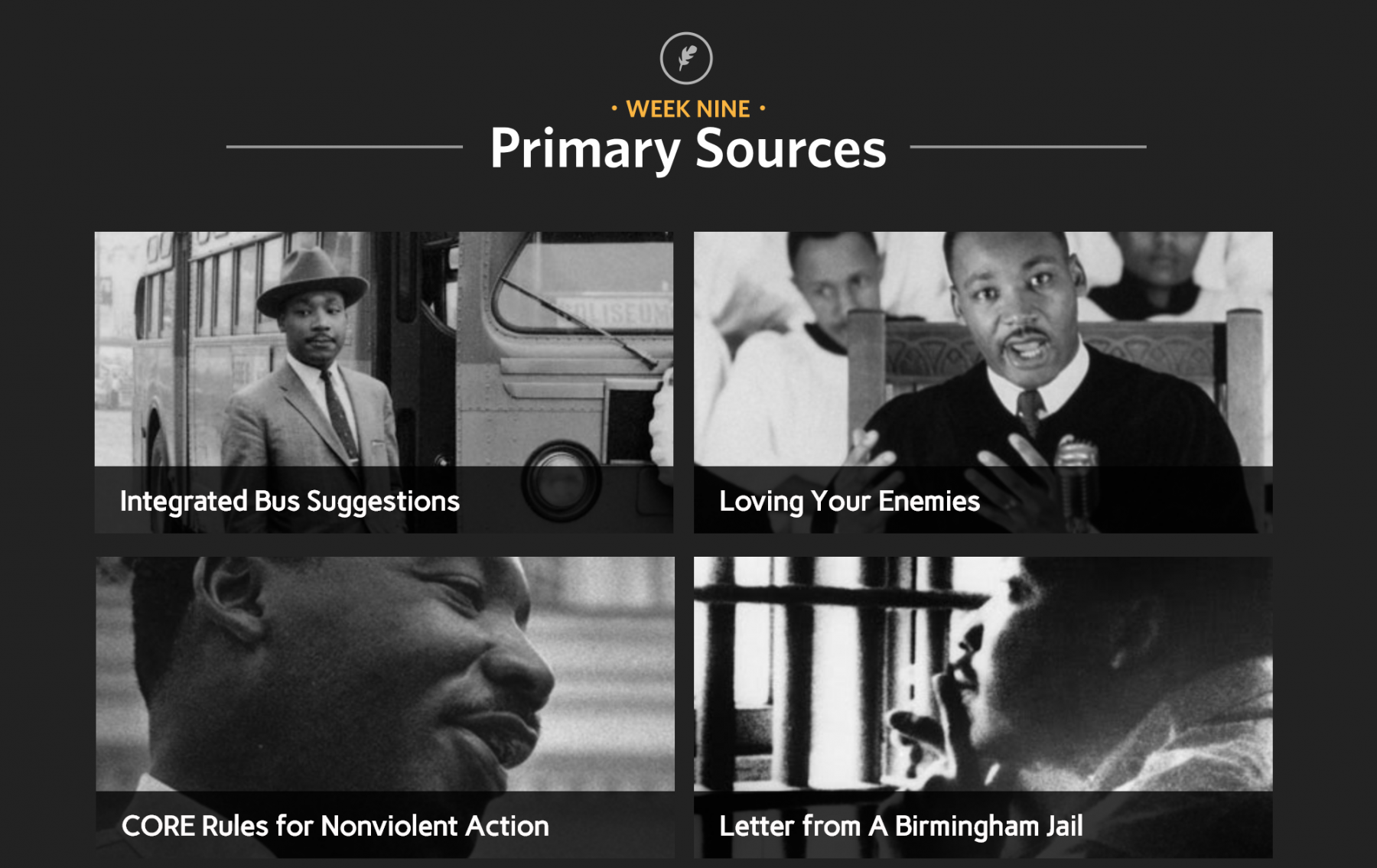 screenshot from interactive piece: 4 images and subtitles: week 9 Primary Sources; integrated bus suggestions; loving your enemies; CORE rules for nonviolent Action; Letter from a Birmingham Jail