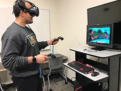 Student at Vive VR machine