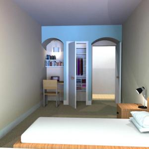 A rendering of a single room in St. Anne's Hall, a new residential facility for USF law students.