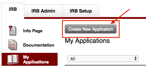 Create New Application Button