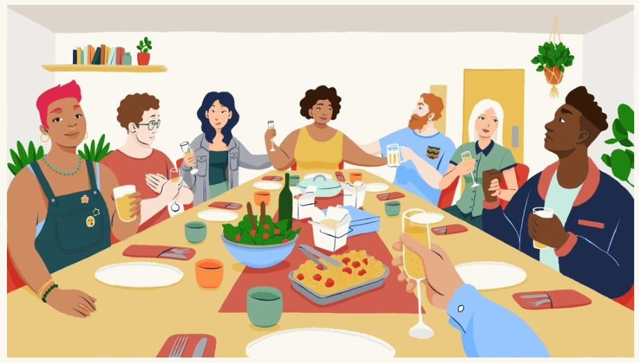 Illustration of people at a dinner party