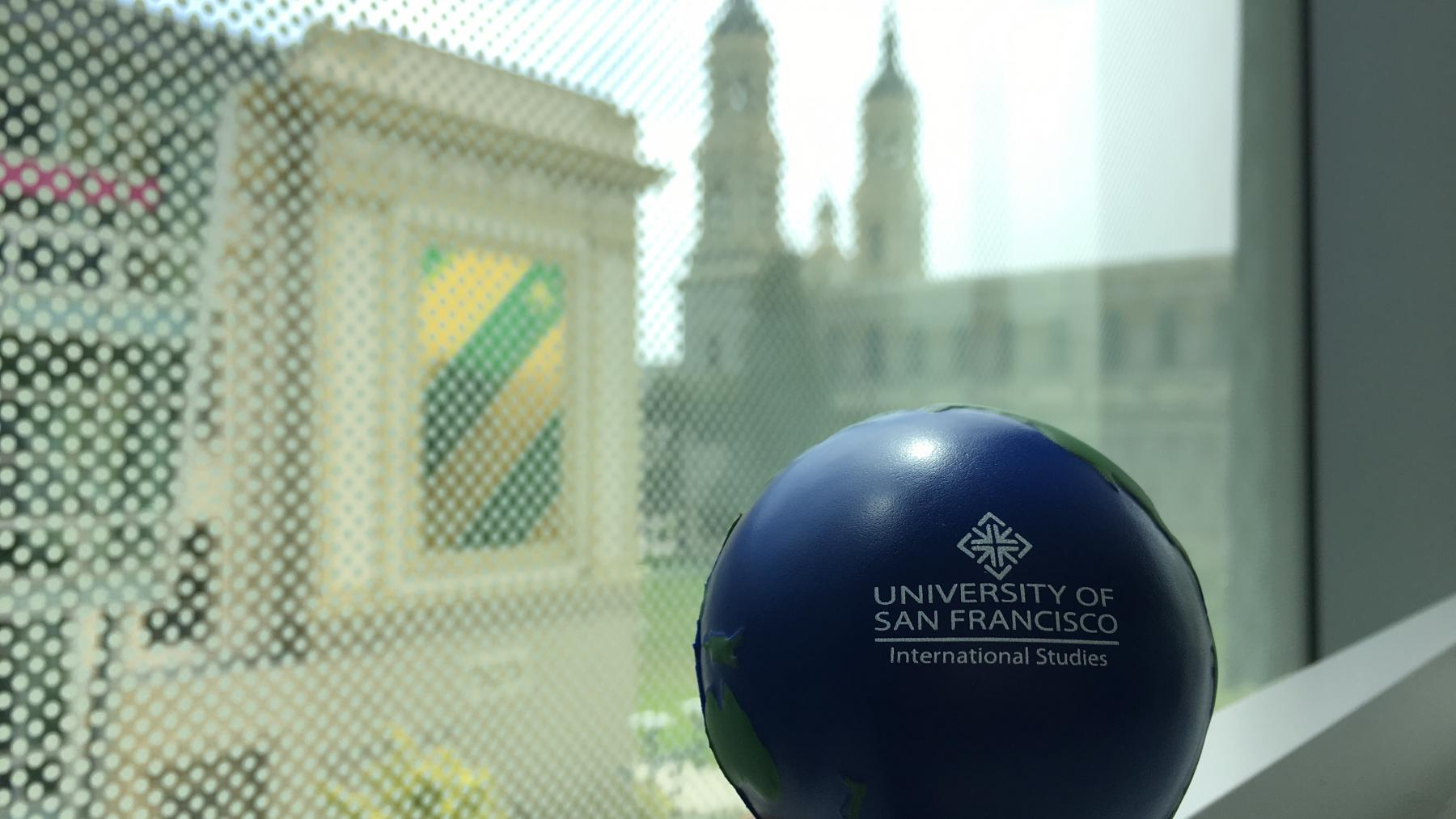 Stress Ball overlooking campus