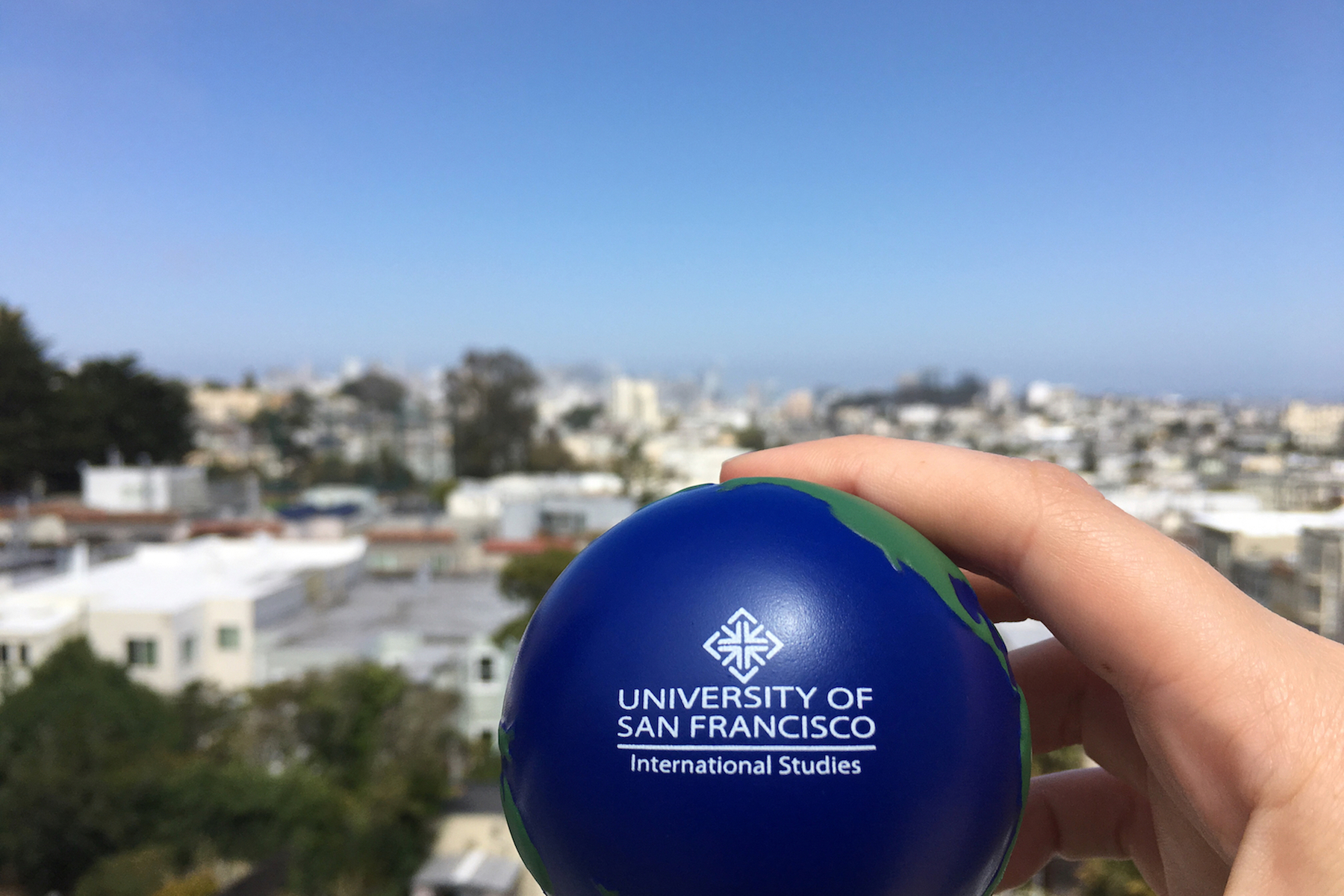 stress ball overlooking sf skyline