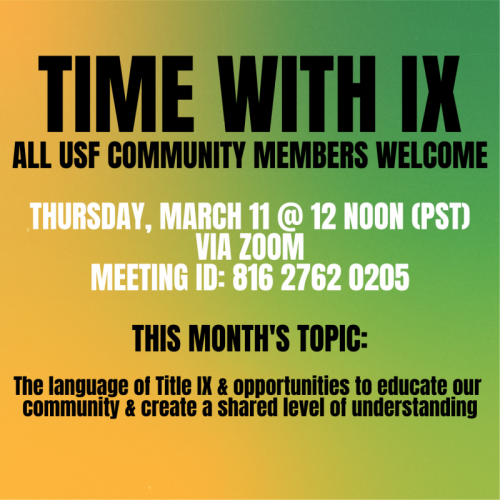 Time with IX Discussion Series March 11 at Noon