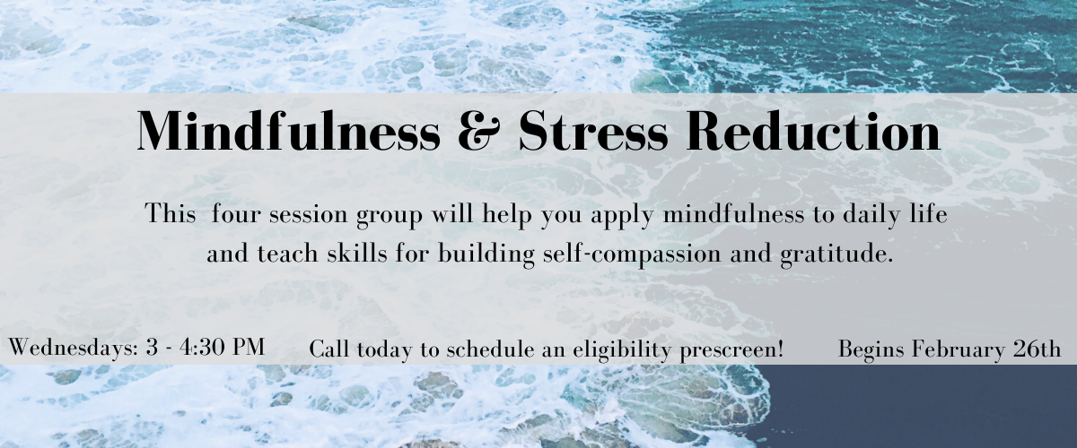 Mindfulness and Stress Reduction Group Wednesdays from 3 to four thirty, beginning February 26th