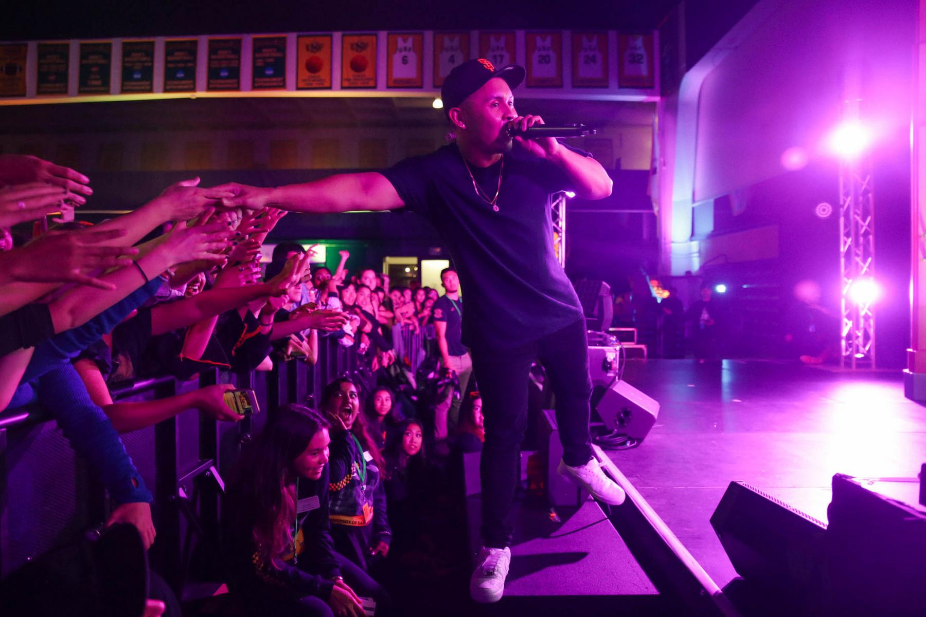 Bay Area Rapper P-Lo performing at Dons Night Out to kick off the school year.