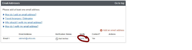 Screenshot of Email Addresses on Concur