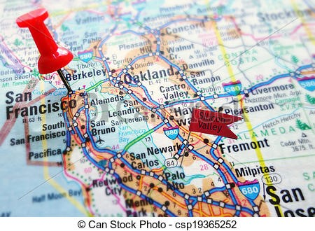 Map of the bay area with a pin o San Francisco