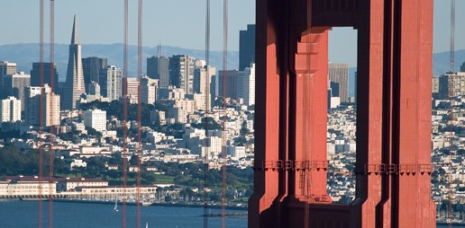 City of San Frnacisco seen by the Golden gate bridge