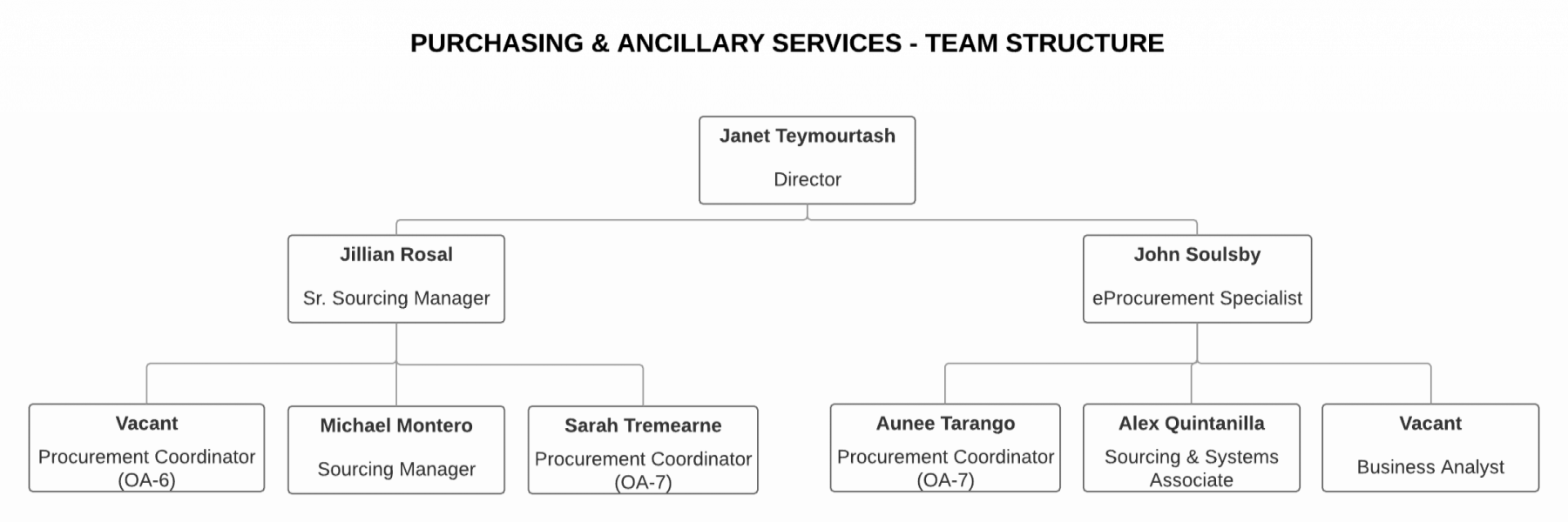 Purchasing and Ancillary Services team structure chart