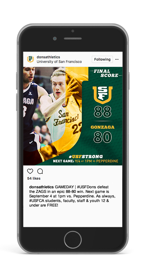 USF Basketball game results on Instagram