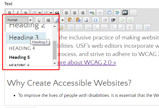 Example illustrating the heading selector in the WYSIWYG editor